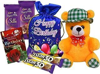 Saugat Traders Birthday Gift for Friends-Soft Teddy Bear-Designer Birthday Potli with Cadbury Chocolates-Birthday Greeting...