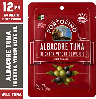 Portofino Albacore Tuna in Extra Virgin Olive Oil with Sea Salt - 2.5oz Pouch (Pack of 12)