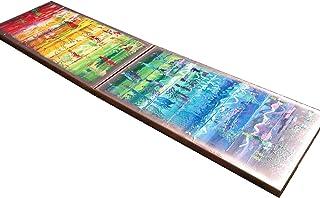 Arco iris y cobre abstracto A564 - díptico colorido empaste arte, pinturas abstractas originales del artista Ksavera