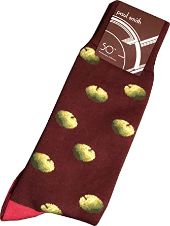 """PAUL SMITH """"Apple Archive 50th Anniversary Collection"""" Mens Cotton One Size Socks Red with Green Apples & Blue Toe & Heel"""