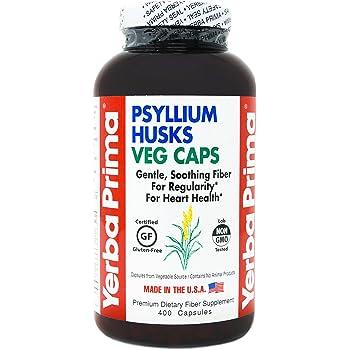 Yerba Prima Psyllium Husks Veg Caps, 400 Capsules (625mg) - Vegan, Non-GMO, Gluten Free, Colon Cleanser, Daily Fiber Supplement