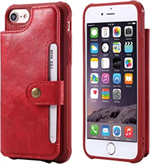 Leather Case Compatible with iPhone 8 Apple iPhone 7 6s 6, Wallet Protective Wrist Hand Cash Credit Card Holder ID Window Durable Women Men Magnetic Snap with Stand Red Cover Shell