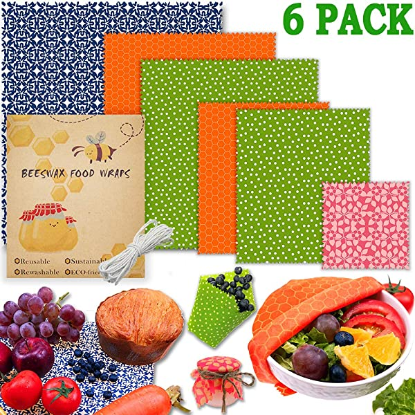 Beeswax Food Wrap Set Of 6 Pack Beeswax Wraps Eco Friendly Reusable Food Wraps Sustainable Plastic Free Food Storage Sandwich Wrappers Washable Bowl Covers