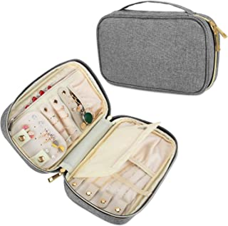 Teamoy Travel Jewelry Case, Jewelry Storage Organizer for Necklaces, Earrings, Bracelets, Rings, Brooches and More, Medium, Gray-(Bag Only)
