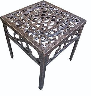 Oakland Living Mississippi Cast Aluminum End Table, 18-Inch, Antique Bronze