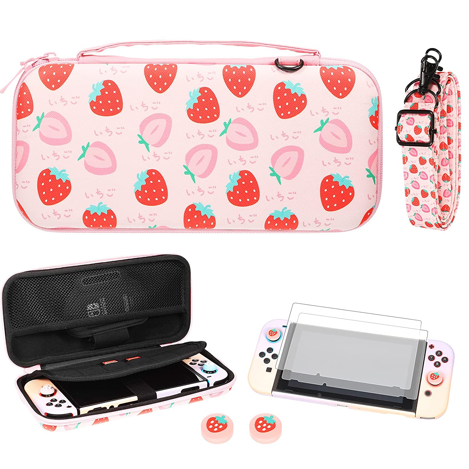 Strawberry Print Protective Max 78% cheap OFF Carry Portable Case Hard Travel