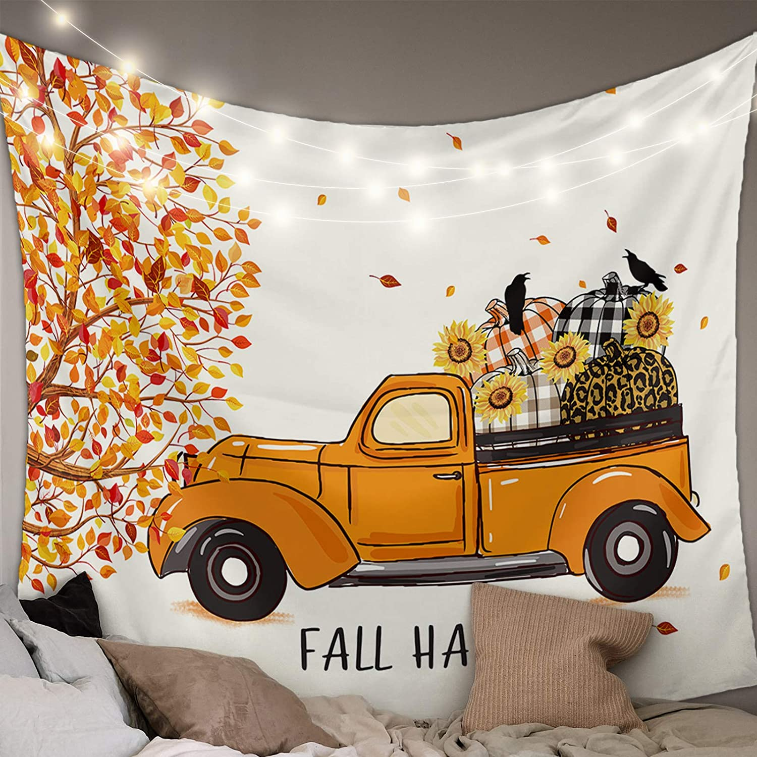 MuswannaA Tapestry Wall Hanging Fall safety Thanksgiving Plaid Max 48% OFF Harvest