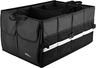 MoKo Trunk Organizer for Car, Anti-Slip Multi Compartments Collapsible Cargo Storage, Foldable & Adjustable Super Durable 1680D Oxford Polyester with Steady Cardboard for Auto & Home Use