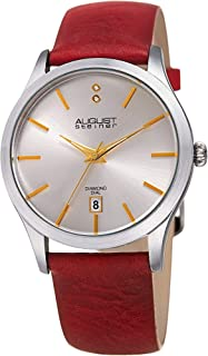 August Steiner Women's Stainless Steel Quartz Watch with Leather Strap, red, 20 (Model: AS8233SSRD)