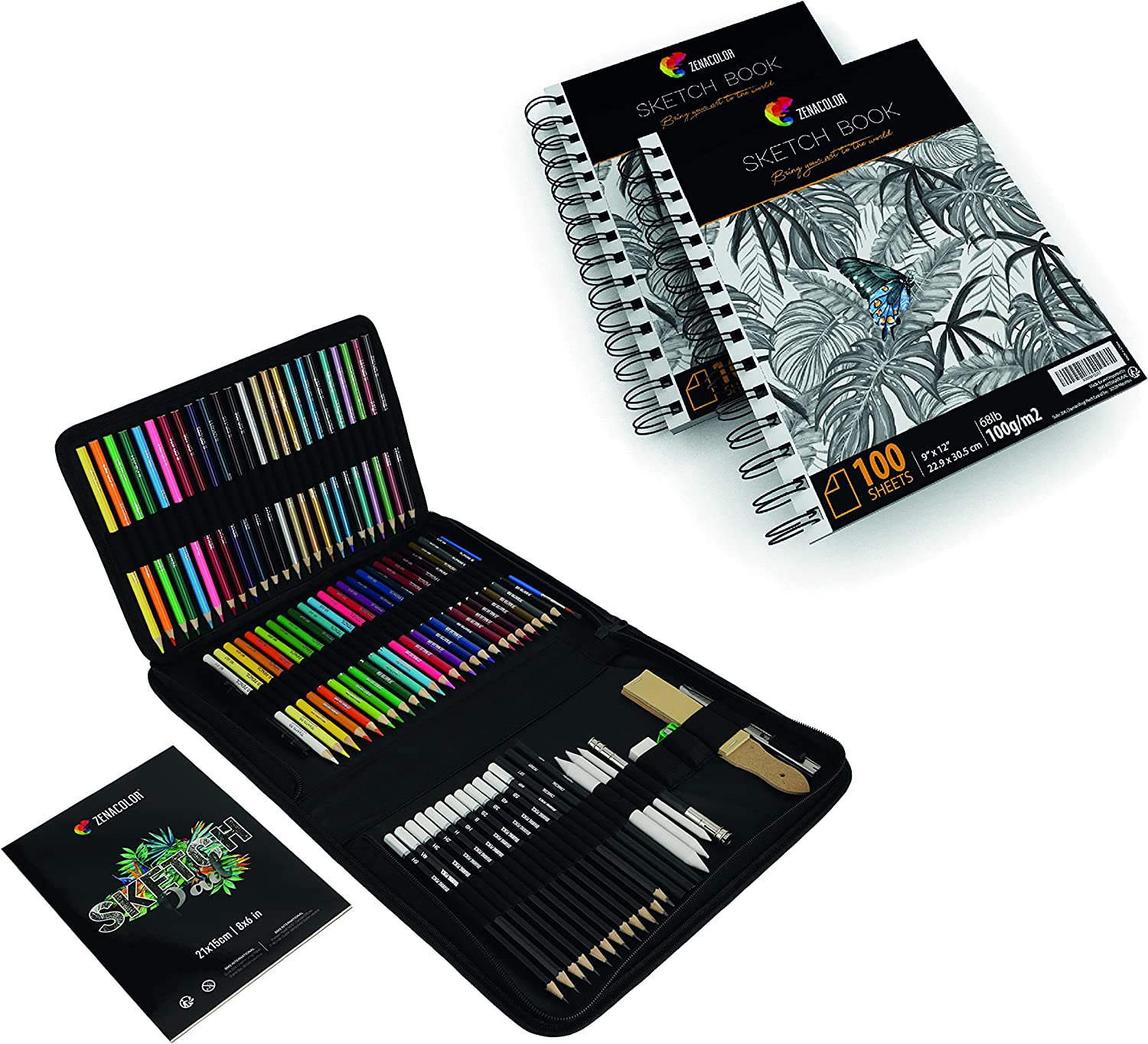 Set of Outlet ☆ Free Shipping Houston Mall 74-Piece Drawing 2x Sketch Book 200 Professional S