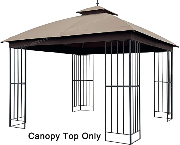 APEX GARDEN Canopy Top For Garden Treasures 10 Ft X 10 Ft Brown Metal Square Semi Gazebo Model L GZ038PST F Top Only