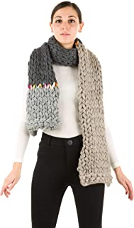 Color Block Chunky Knitted Scarf With Multicolor Detail 100% Merino Wool