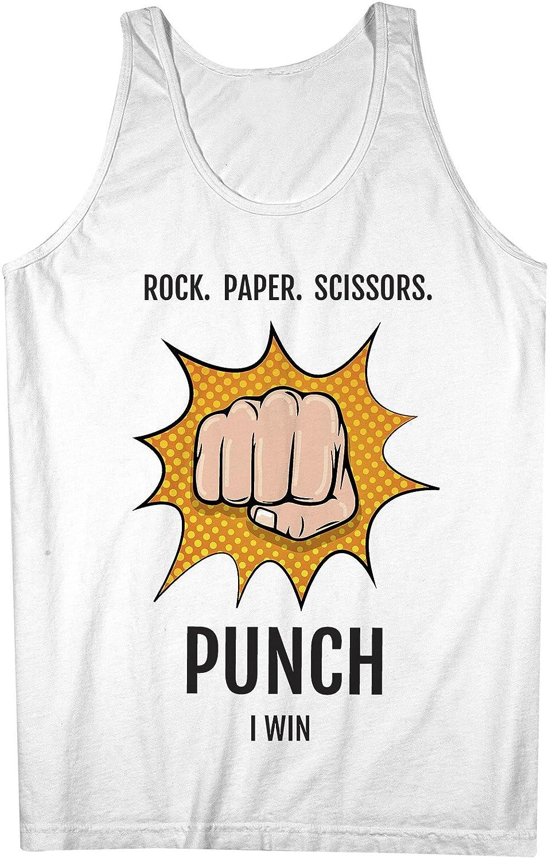 Rock Paper Scissors Punch I Win おかしいです 皮肉な 男性用 Tank Top Sleeveless Shirt