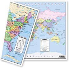 "US and World Desk Map (13"" x 18"" Laminated) for Students, Home or Classroom Use.."