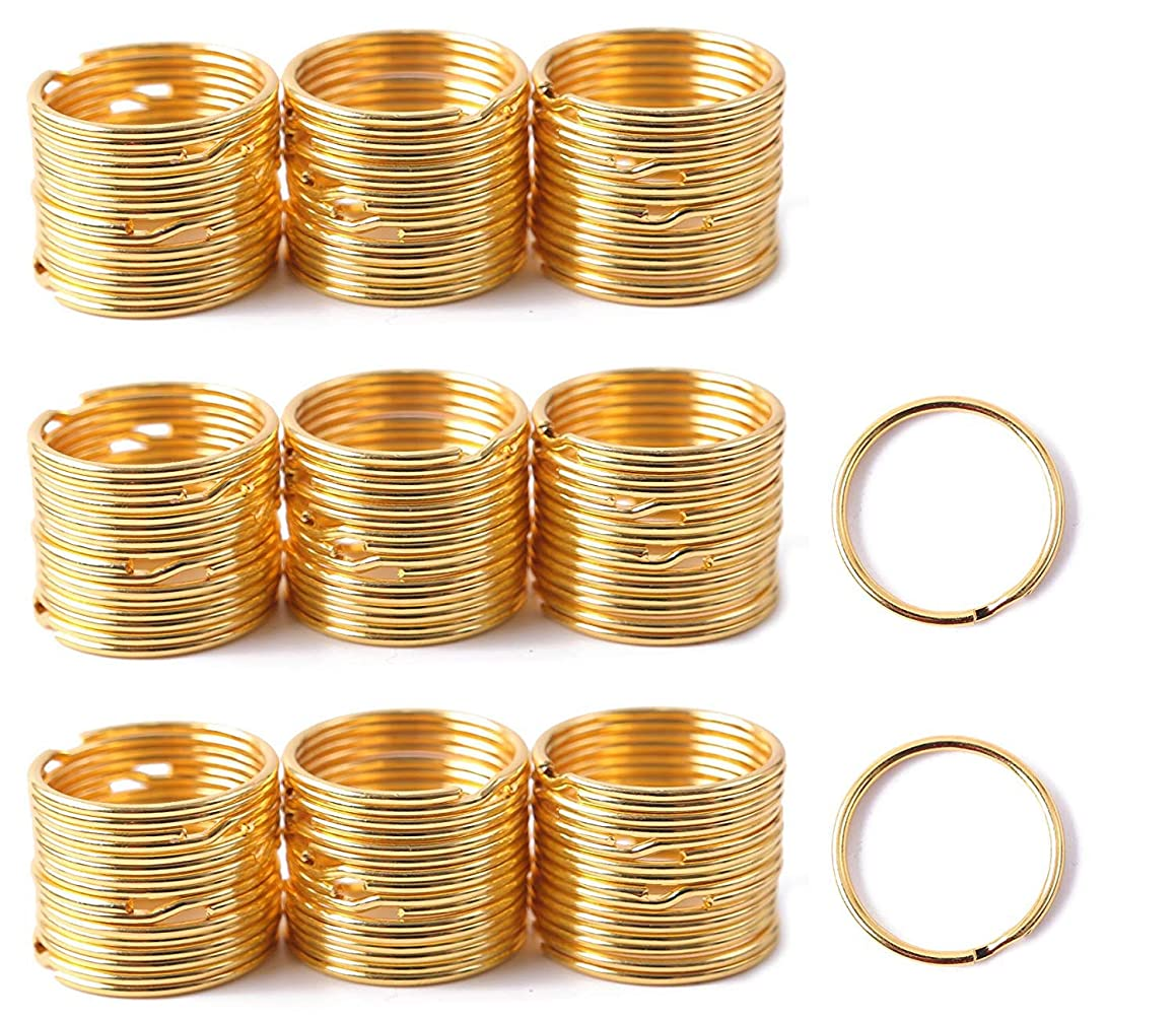 Shapenty 1 Inch/25mm Round Edged Metal Split Key Ring Chain Clip Connector Bulk for Car Home Keys Organization and DIY Art Craft Project (Gold, 100PCS)