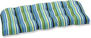 Pillow Perfect Outdoor Topanga Stripe Lagoon Wicker Loveseat Cushion