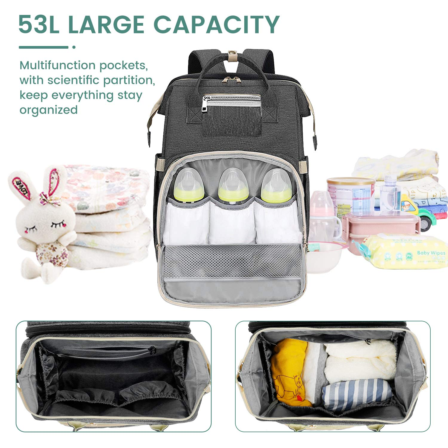 3 in 1 Diaper Bag Backpack with Bassinet,Portable Travel Crib Changing Station Foldable Bed Convertible Newborn Registry Baby Shower Gifts Essentials Accessories Stuff for Girls Boys Men Dad Mom