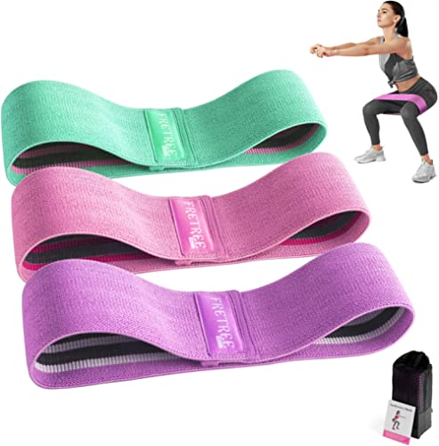 FRETREE Resistance Bands for Legs and Butt - Non Slip Elastic Exercise Bands Set for Stretching, Strength Training, P...