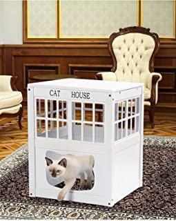 Lexi Home Wooden Cat House – Multi-Functional Cat Houses or Litter Box Cover – White Cats House – Cat Outdoor House