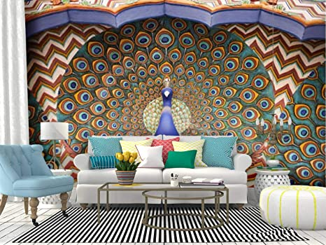 Amazon Com Wall Mural Peacock From The Jaipur City Palace Indian Door Stock Pictures Peel And Stick Wallpaper Self Adhesive Wallpaper Large Wall Sticker Removable Vinyl Film Roll Shelf Paper Home Decor