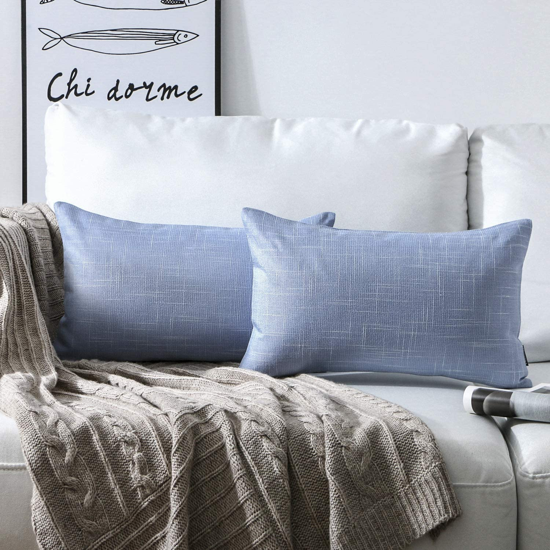 Phantoscope Set of 2 Soft Textured Lined Linen Burlap Throw Pillow Cushion Cover Sky bluee 12  x 20  30 x 50 cm