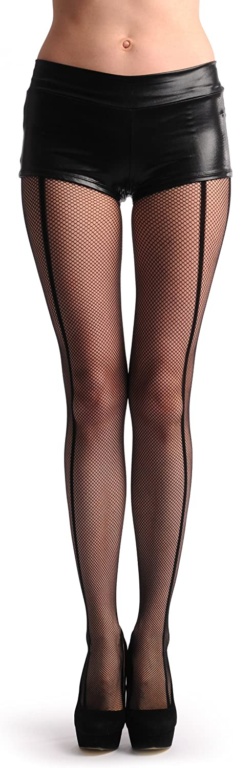 Black Fishnet With Four Opaque Stripes On The Side - Tights