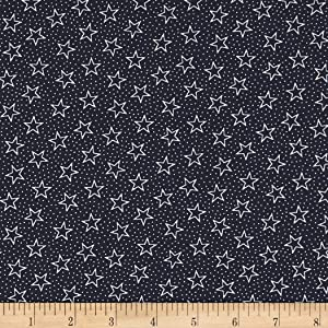 Santee Print Works Patriotic 108'' Quilt Backs Fabric, Navy/Antique, Fabric By The Yard