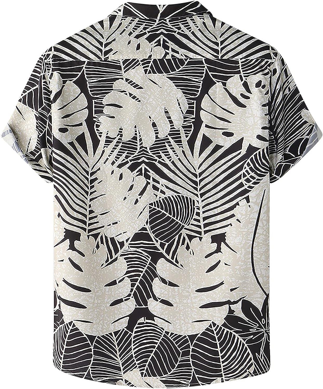 Men's Flower Print Shirt Tropical Hawaiian Shirts Casual Short Sleeve Shirts Mens Button Down Beach Shirt