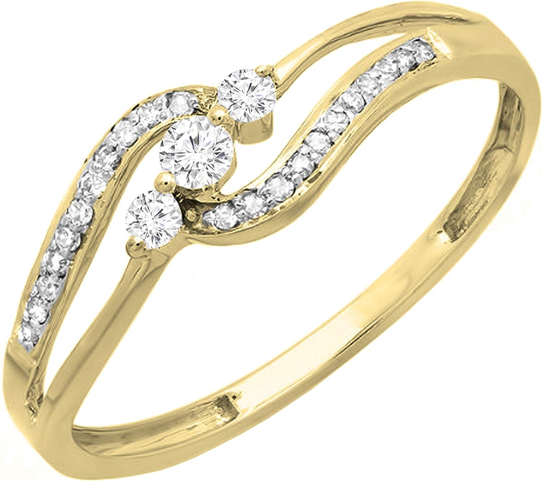 Dazzlingrock Collection 0.20 Carat (ctw) Round White Diamond Ladies 3 stone Engagement Bridal Promise Ring 1/5 CT, 14K Gold