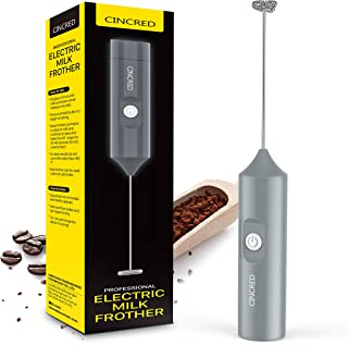 Updated 2019 Version Milk Coffee Frother Handheld Battery Operated Electric Frothing Wand Foam Maker For Latte, Cappuccino, Hot Chocolate, Frappe, Durable Drink Mixer (Gray)