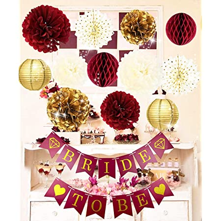Bachelorette Party Decorations Burgundy Gold Bridal Shower Decorations/Fall Wedding Decorations Burgundy Polka Dot Fans Bride to Be Banner for Burgundy Wedding/Bridal Shower Hen Party