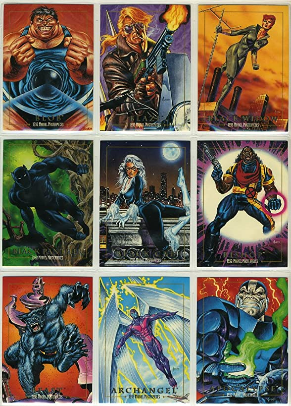 1992 SkyBox Marvel Masterpieces Series-1 New 100-Card Complete Base Set Plus 5-Card Spectra Foil Chase Set in Collector Pages
