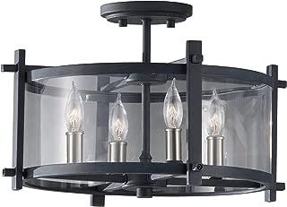 Feiss SF292AF/BS Ethan Glass Semi Flush Ceiling Lighting, Iron, 4-Light (16