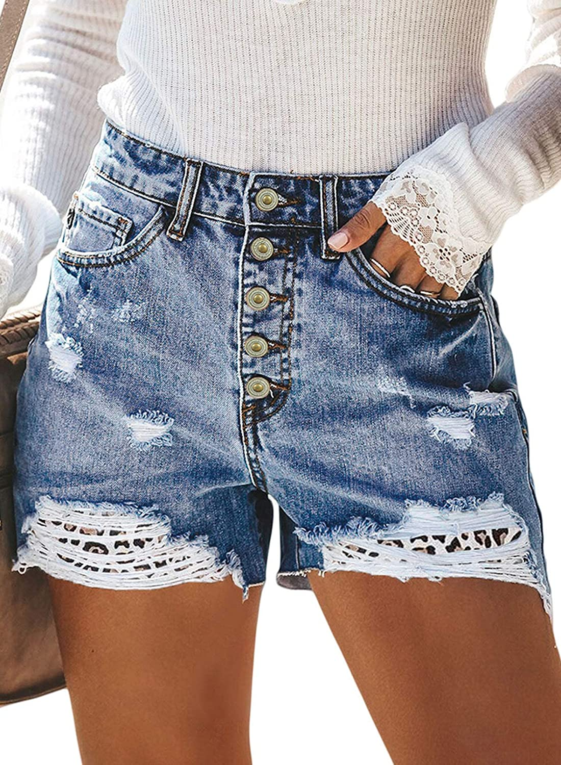 Dokotoo Women's Casual Ripped Denim Jean Shorts High Waisted Short Pants with Pockets