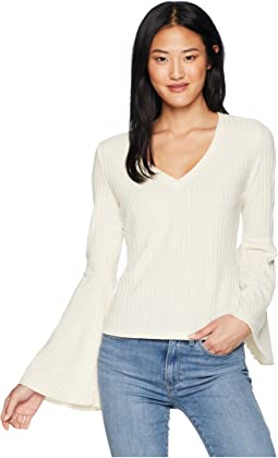 Irish Goodbye Rib Knit Bell Sleeve Top