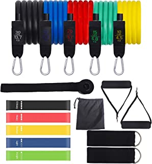Winssi 16pcs Resistance Bands Set with 5 Resistance Loop Bands,Handles, Ankle Straps, Door Anchor, Carry Bag-Perfect for R...