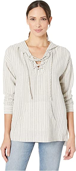 Hooded Lace-Up Tunic in Veranda Stripe