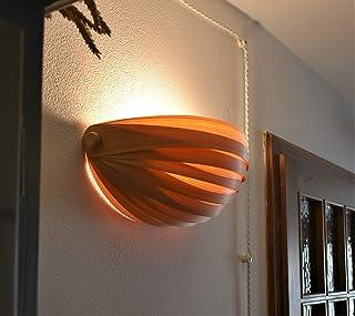 Lampada da parete in legno, artigianato in legno, luce calda, bar, ristorante, sala, soggiorno, lampada design in legno, a...