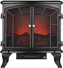 BBZZ Estufa eléctrica para chimenea para espacio interior, doble puerta, estufa realista efecto llama, estufa eléctrica independiente, 2000 W