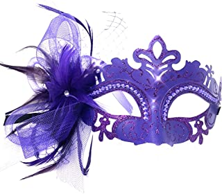 Storm Buy ] Lady/Women/Girls Costume Mask Feather Masquerade Mask Halloween Mardi Gras Cosplay Party