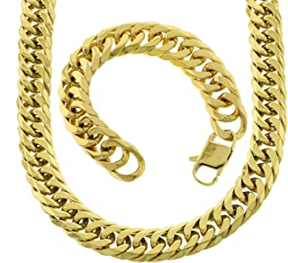 Mens Thick Tight Link Yellow Gold Finish Miami Cuban Link Chain And Bracelet Set Heavy 18mm JayZ Gold Plated