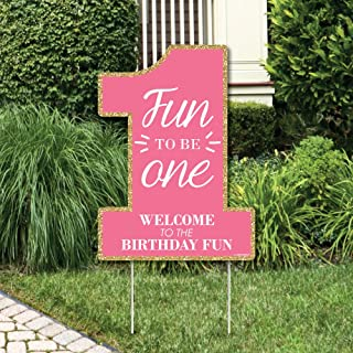 Big Dot of Happiness 1st Birthday Girl - Fun to be One - Party Decorations - First Birthday Party Welcome Yard Sign