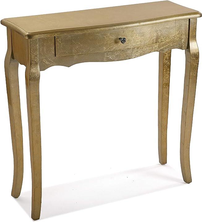 Tavolo d`ingresso dorato di cagliari, legno, oro, 80 x 30 x 80 cm versa 21260020