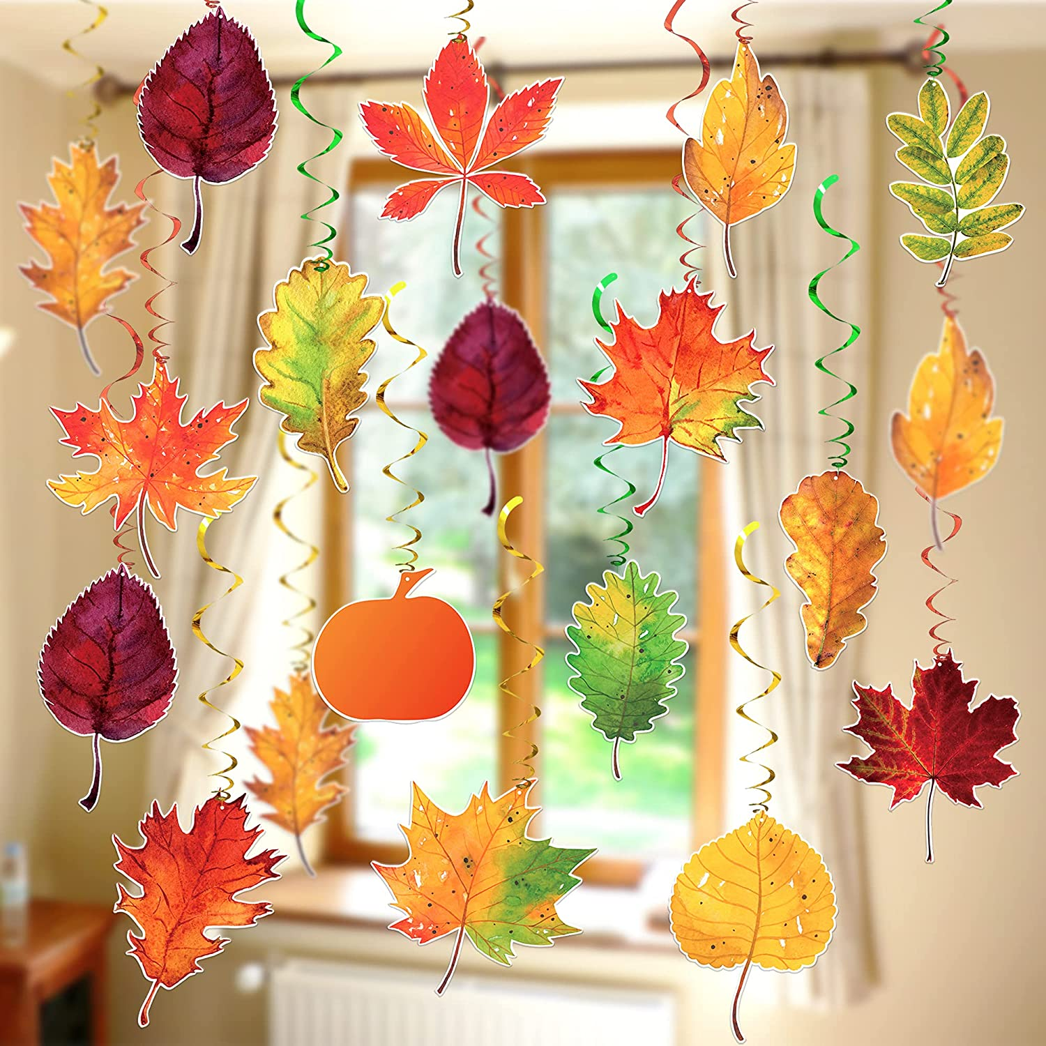 Thanksgiving Swirls for Fall Classroom Decorations - Pack of 30, No DIY Required   Fall Hanging Decorations, Thanksgiving Hanging Swirls, Autumn Hanging Decorations   Thanksgiving Decorations for Home