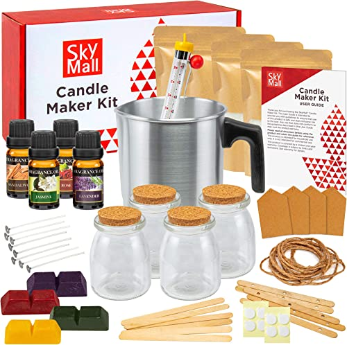wholesale SkyMall Candle Making Kit, DIY Set for Making Candles, Includes Melting Pot, outlet online sale 4 Glass Jars, [4] 5oz Soy Wax Bags, 4 Color Dye Blocks, 4 Fragrance Oils, Wicks, Thermometer, new arrival Tags, Bonus Holiday Stickers online