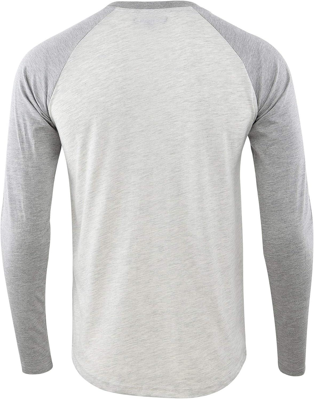 HETHCODE Mens Casual Lightweight Vintage Long Raglan Sleeve Baseball T-Shirt