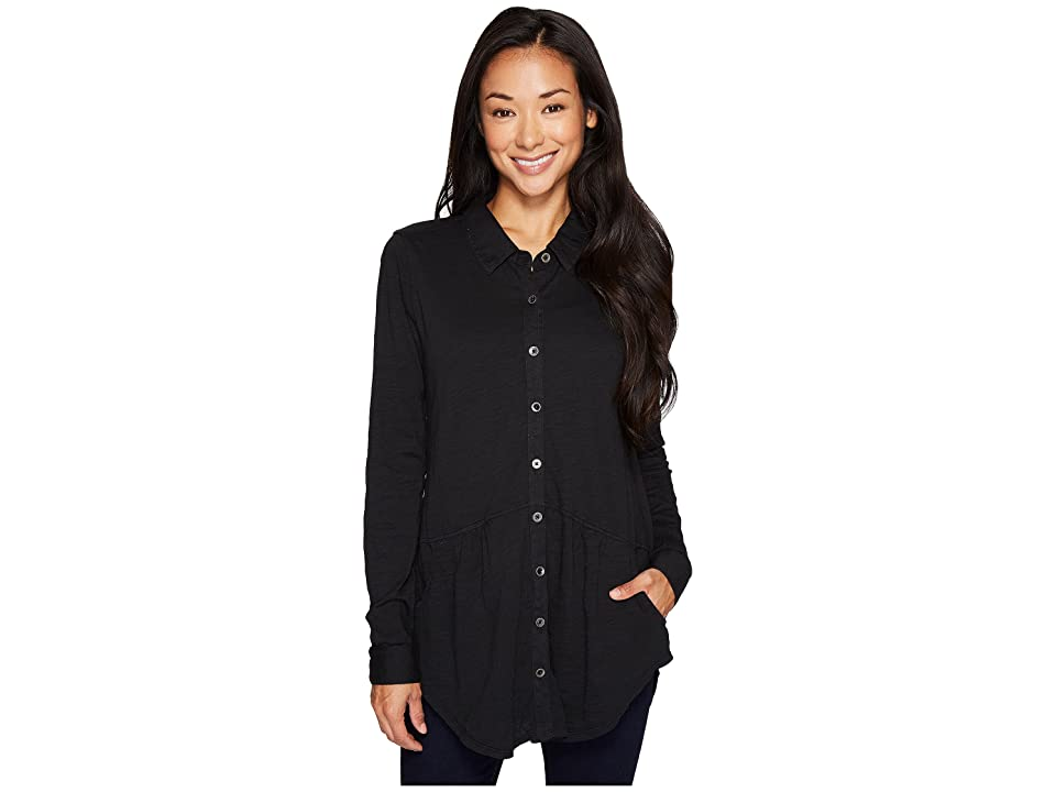 Mod-o-doc Slub Jersey Button Front Pocket Shirt (Black) Women