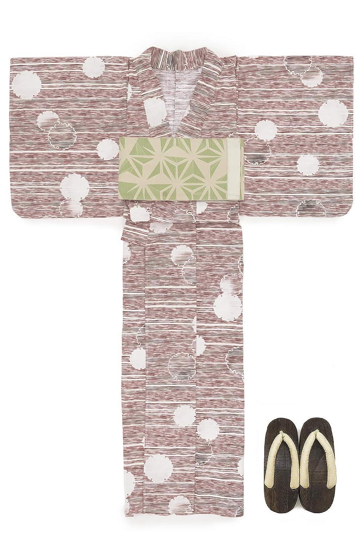 (ソウビエン) 浴衣 セット レディース 赤 レッド 白 雪輪 横縞 綿 半幅帯 マクレ ボヌールセゾン