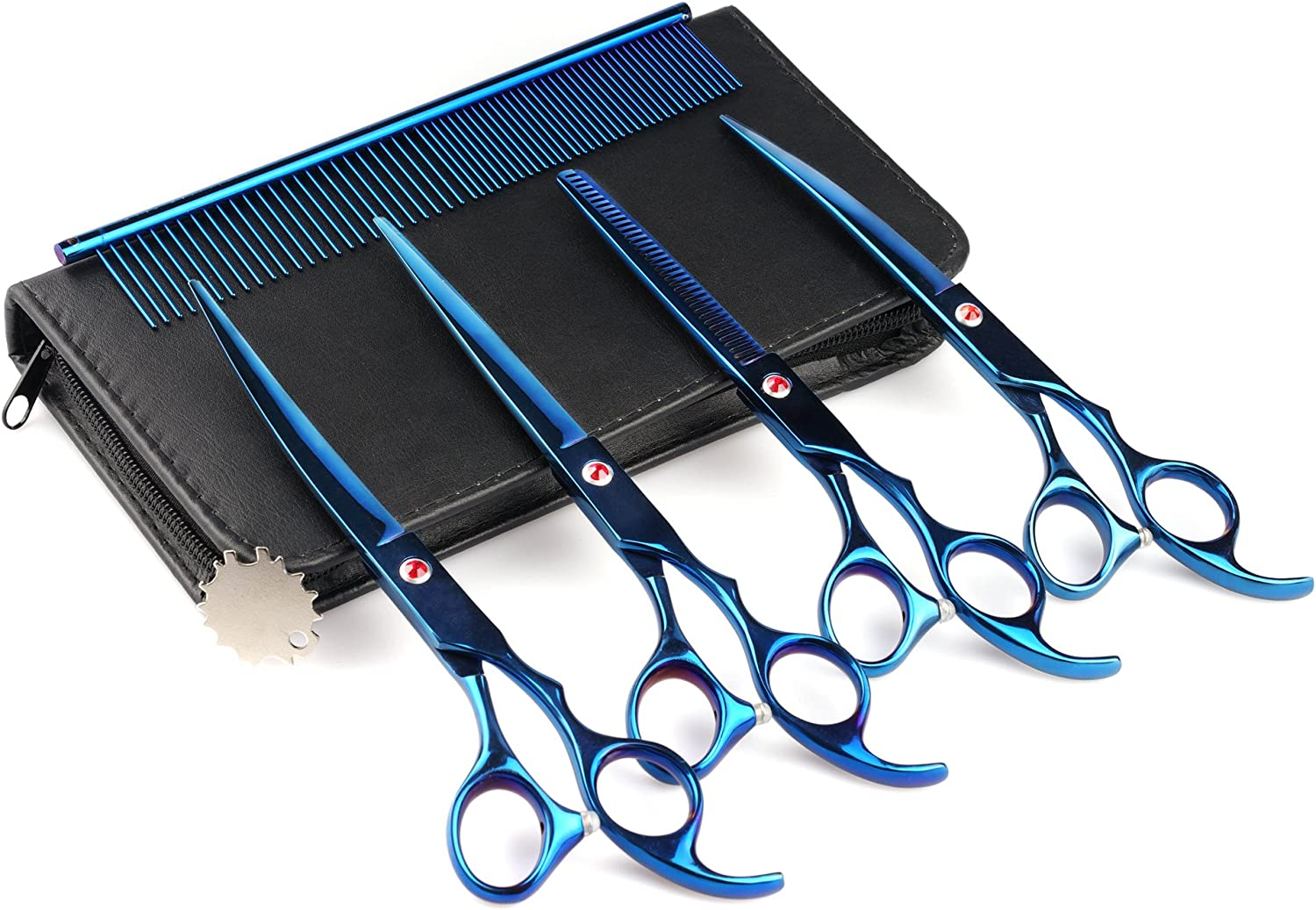 Fancystyle Dog Grooming Scissors Kit, 7 inches Stainless Steel Pet Scissors Curved Scissors Curved Thinning Shear and Steel Grooming Comb Set with Clean Cloth (bluee)