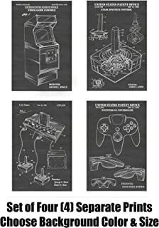 Vintage Video Gaming and Video Game Systems Wall Decor Collection: Set of Four Patent Print Art Posters: Choose From Multiple Size and Background Color Options